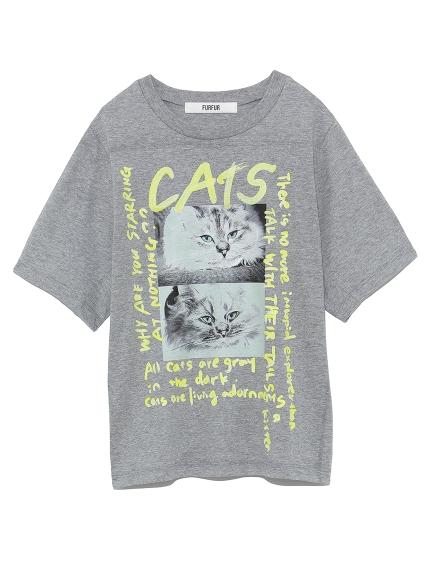 ネコスケッチプリントTシャツ(GRY-F)