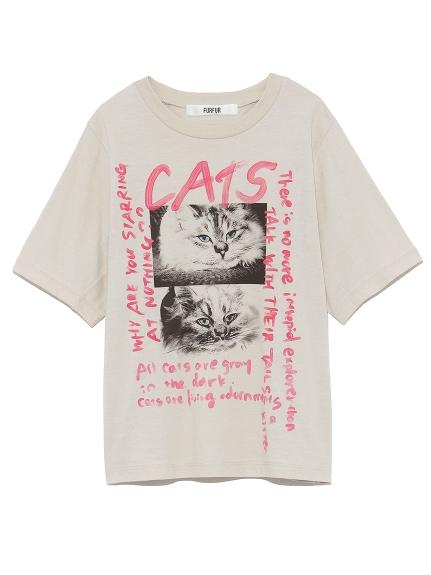 ネコスケッチプリントTシャツ(BEG-F)