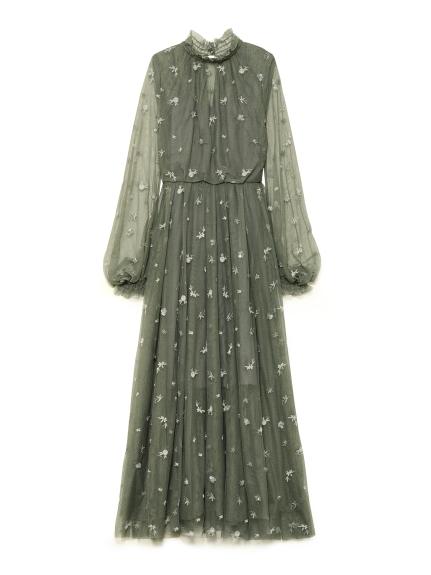 フラワー刺繍チュールワンピース(KKI-F)