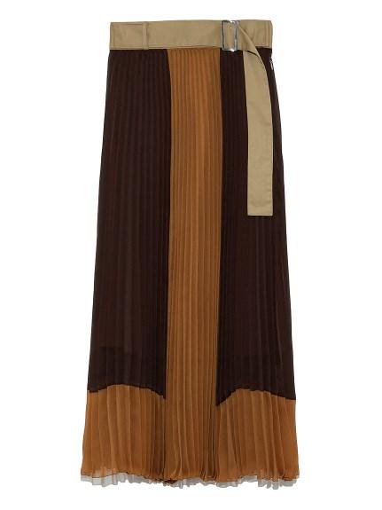 カラーブロックプリーツスカート