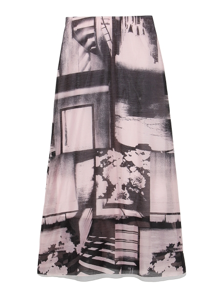 転写プリントロングスカート