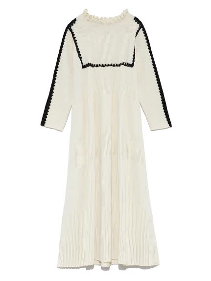 トリムドAニットドレス(WHT-F)