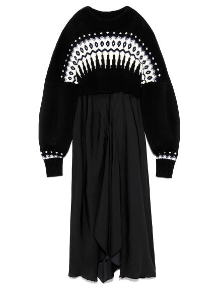 ノルディックリバーシブルニットドレス(BLK-F)