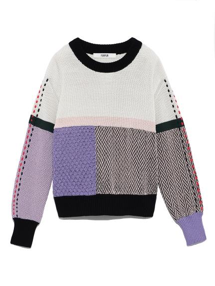 カラーブロックミックスセーター(WHT-F)