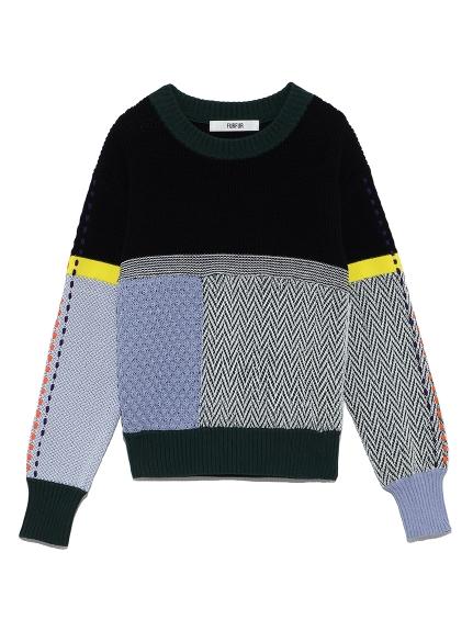 カラーブロックミックスセーター(BLK-F)