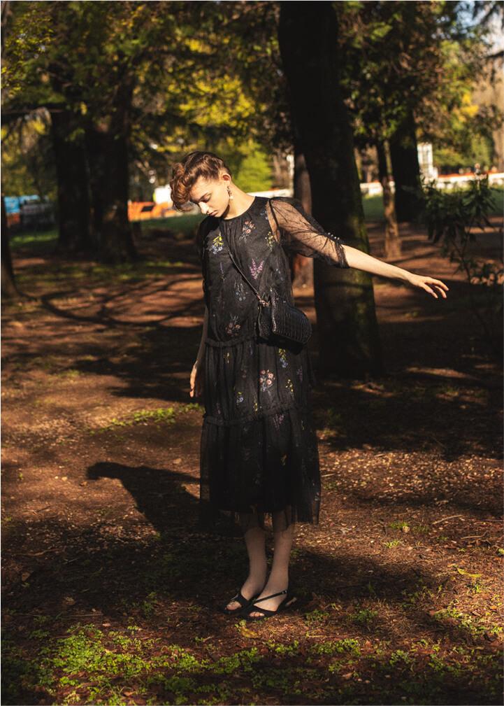 Botanical Pattern Layered Dress