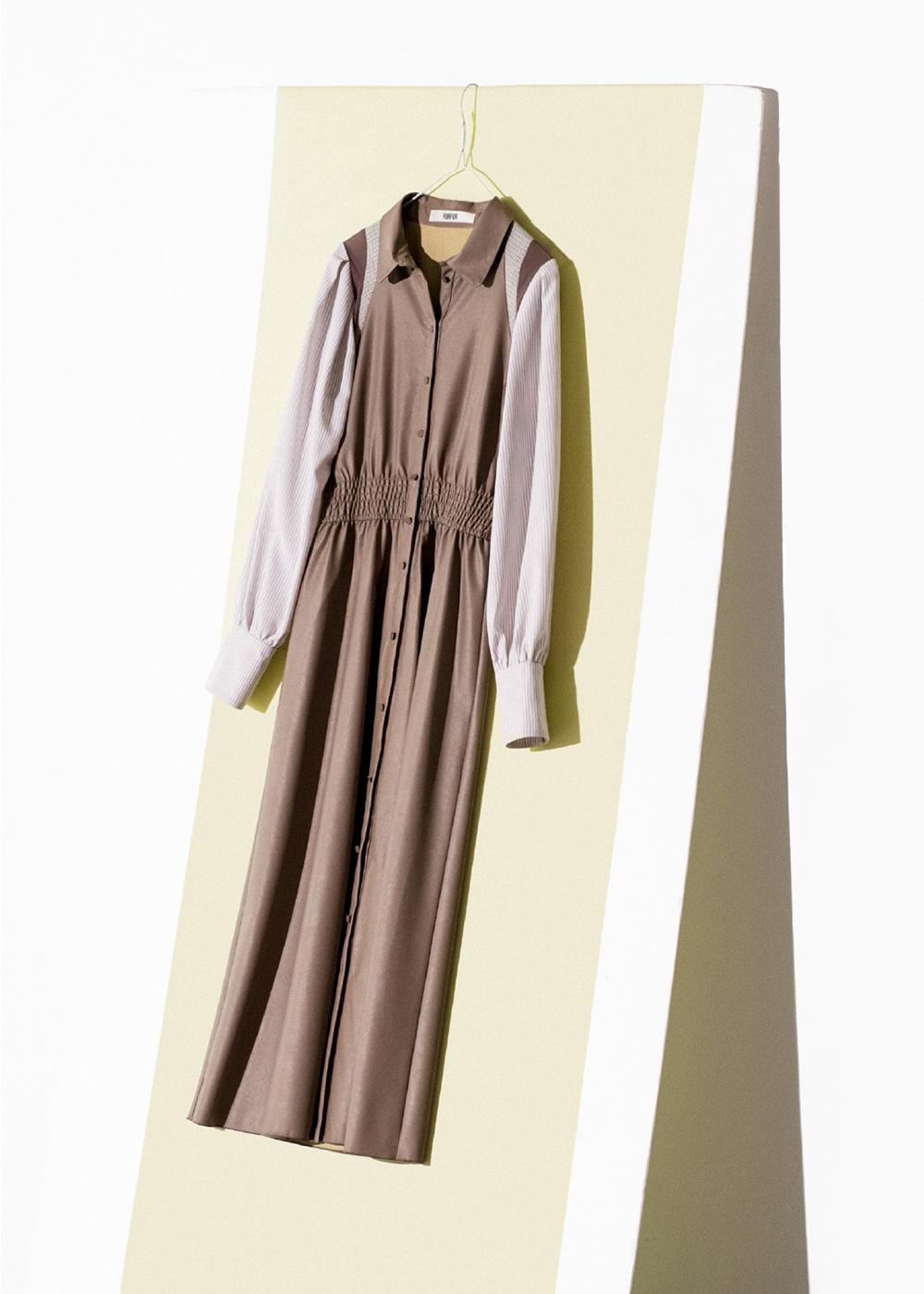 レザーミックスドレス