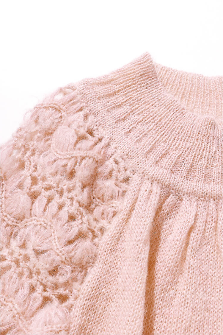 CROCHET SLEEVE MOHAIR KNIT