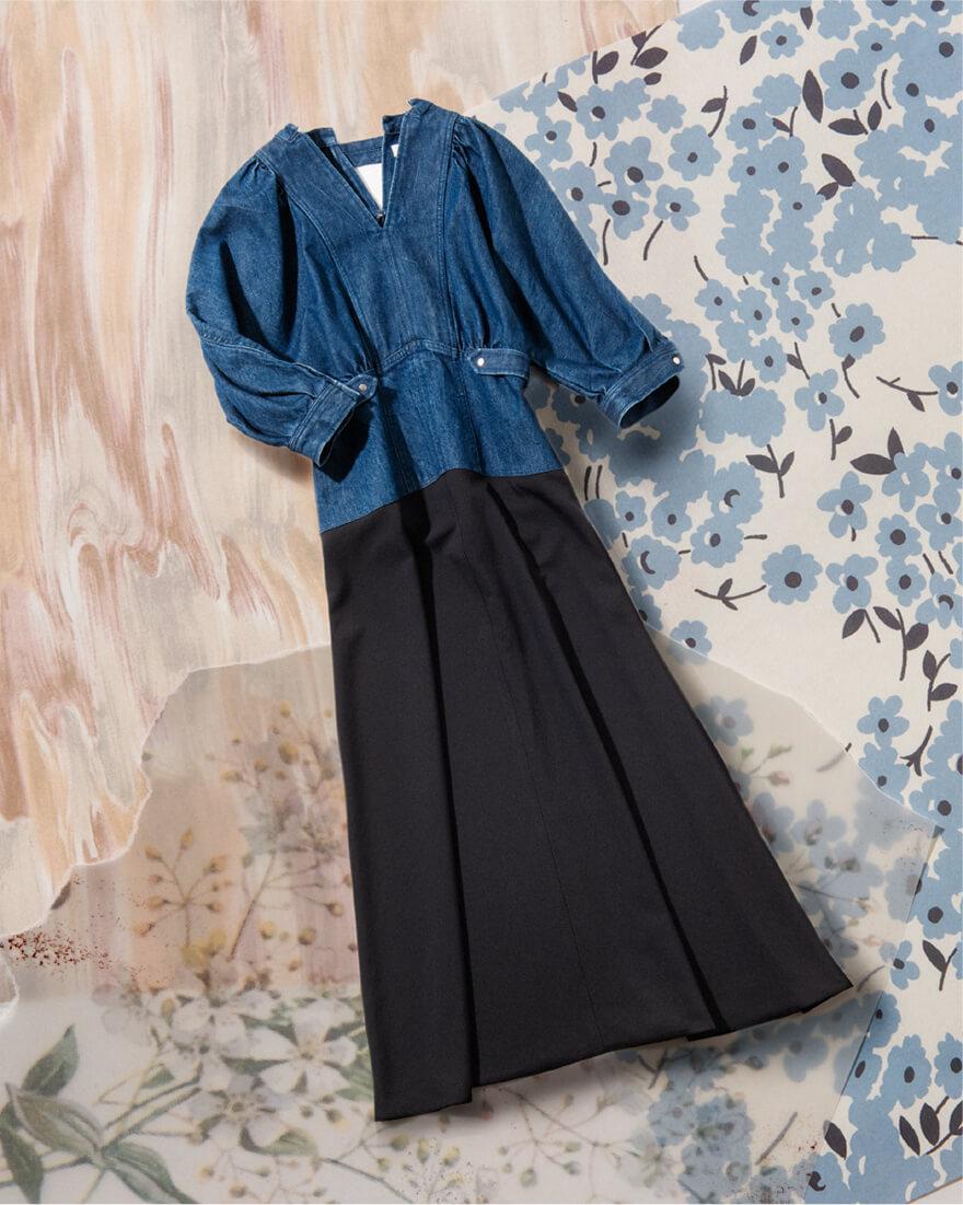 DENIM SWITCHING DRESS